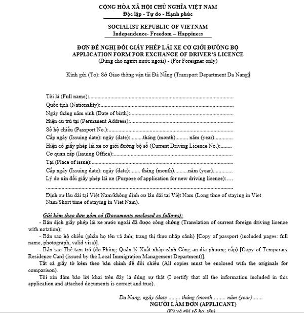 Mẫu đổi giấy phép lái xe cho người nước ngoài tại Việt Nam